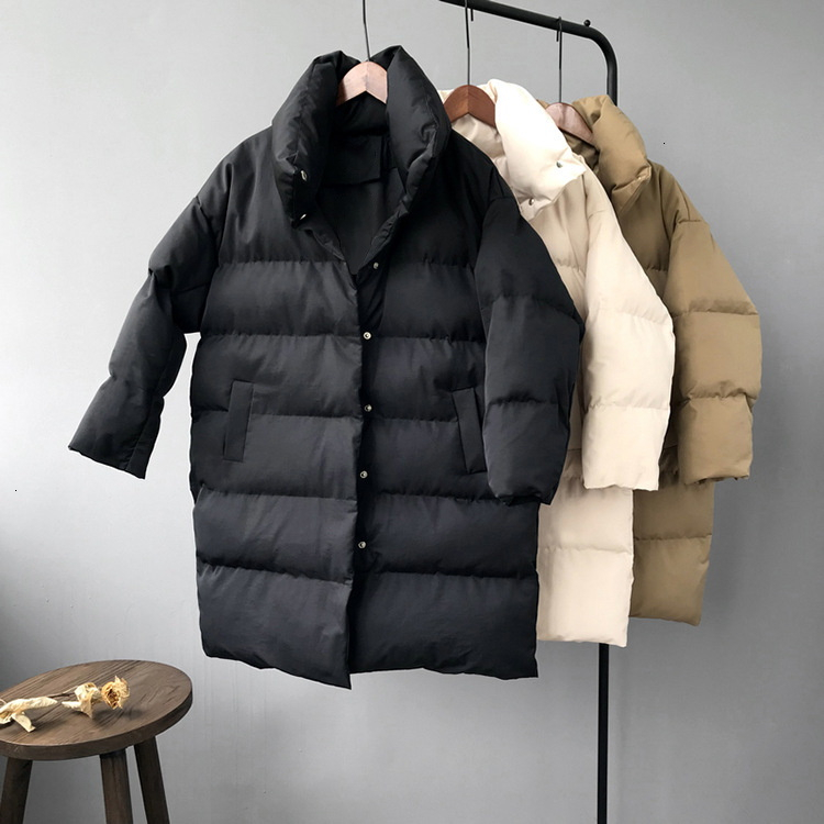 RICORIT, новинка 2019, зимняя куртка с капюшоном и длинным рукавом, однотонная, с хлопковой подкладкой, теплая, свободная, длинная, пуховая куртка, ...