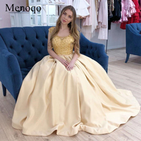 Charming 2019 Arabic Prom Dresses Scoop Beaded Cap Sleeves Sparkly Girls Graduation Party Gowns with Pickets gala jurken P58AU16