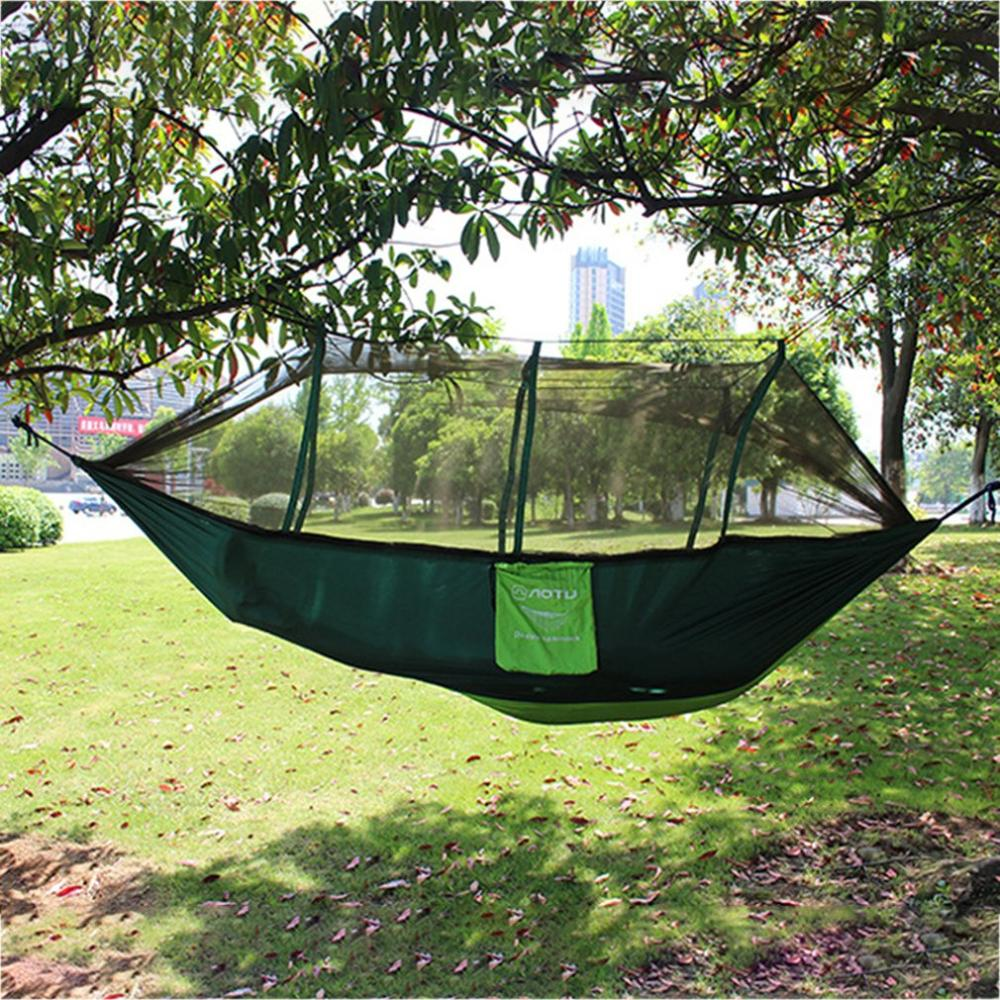 200 Kg Load Hammock Portable Outdoor Camping Nylon Hammock With Mosquito Net High Strength Hanging Bed Hunting Sleeping Swing