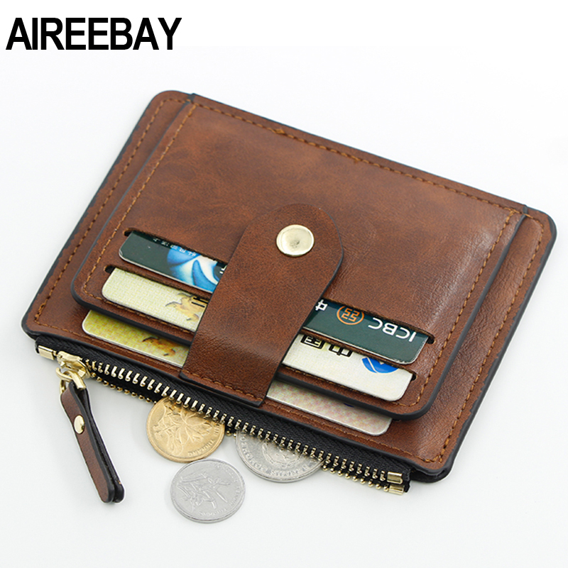 AIREEBAY Credit ID Card Holder Slim Leather Wallet Business Purse Money Case for Men Women Black Fashion Card Wallet image