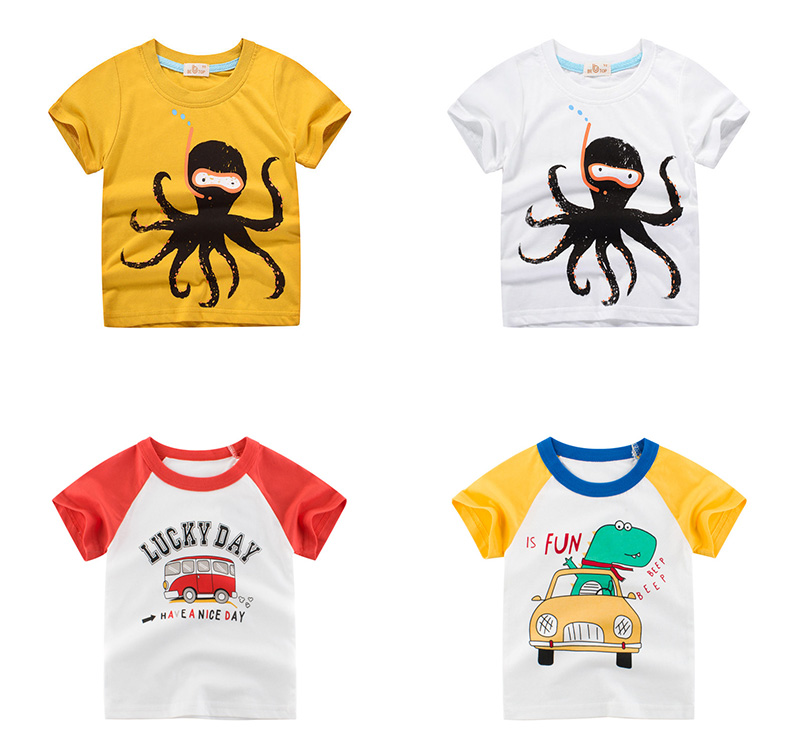INPEPNOW Summer Children Clothing Boys T Shirt Cotton Dinosaur Short Sleeve Kids Tshirts Boy Casual Cute T-shirt 2-10Y DX-CZX279