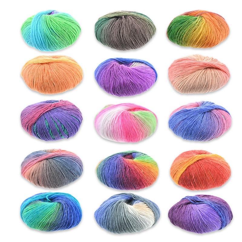ソフトベビーミルク綿ウールdiy糸ハンドニット人形帽子シートクッションカラフルなウールスカート毛布セータースカーフ50グラム/