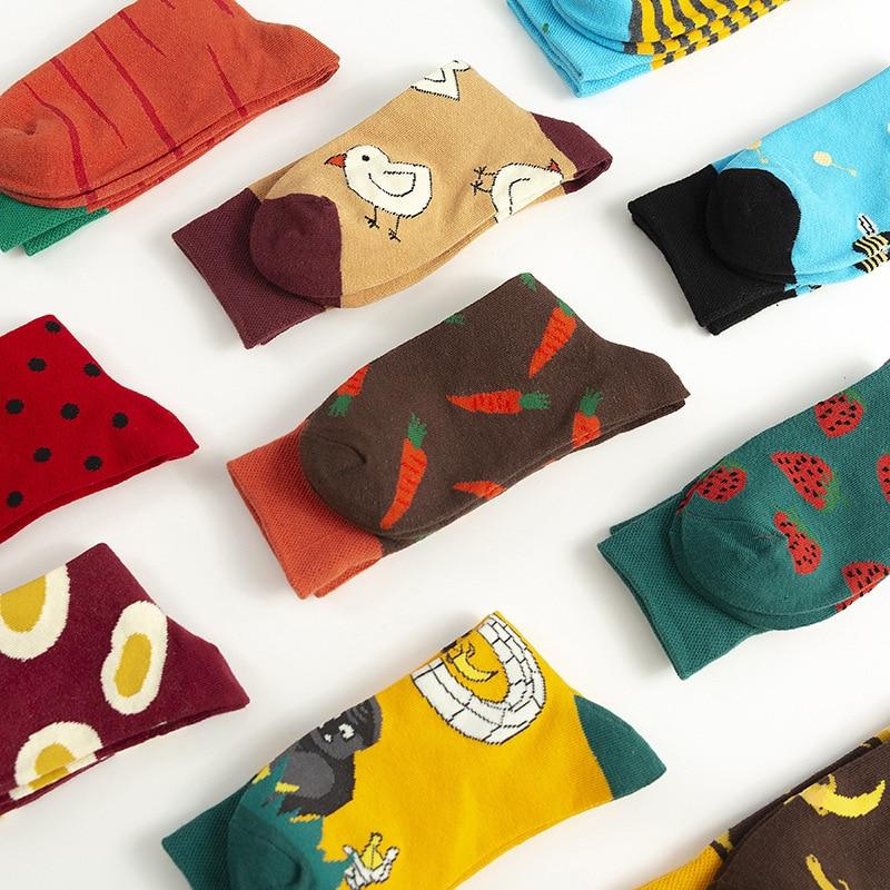 Harajuku Fruit Egg Chick Carrot Funny Socks Japanese Creative Cartoon Socks Women Warm Socks Cute Novelty