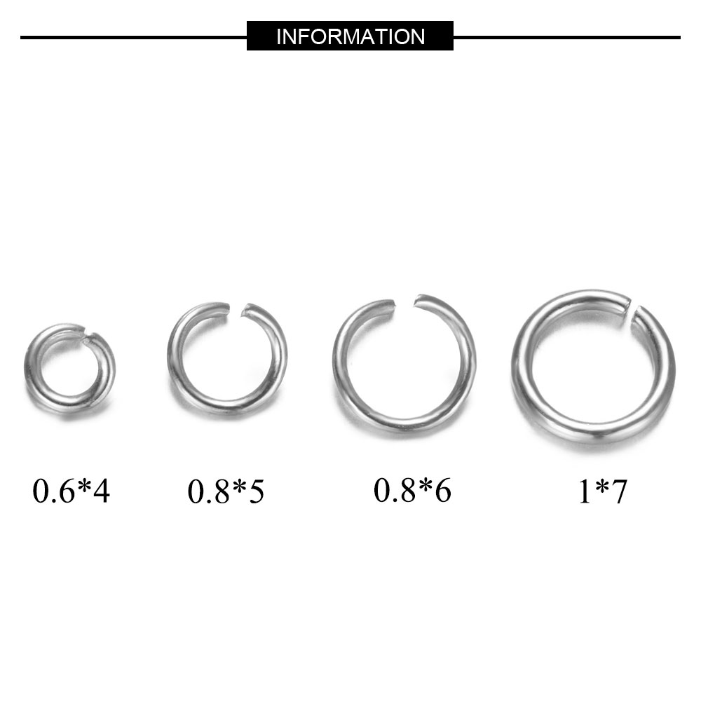 500pcs/lot 4-7mm Jump Ring 100% Real Stainless Steel Lobster Clasp Wholesale Finding Jewelry Supplies