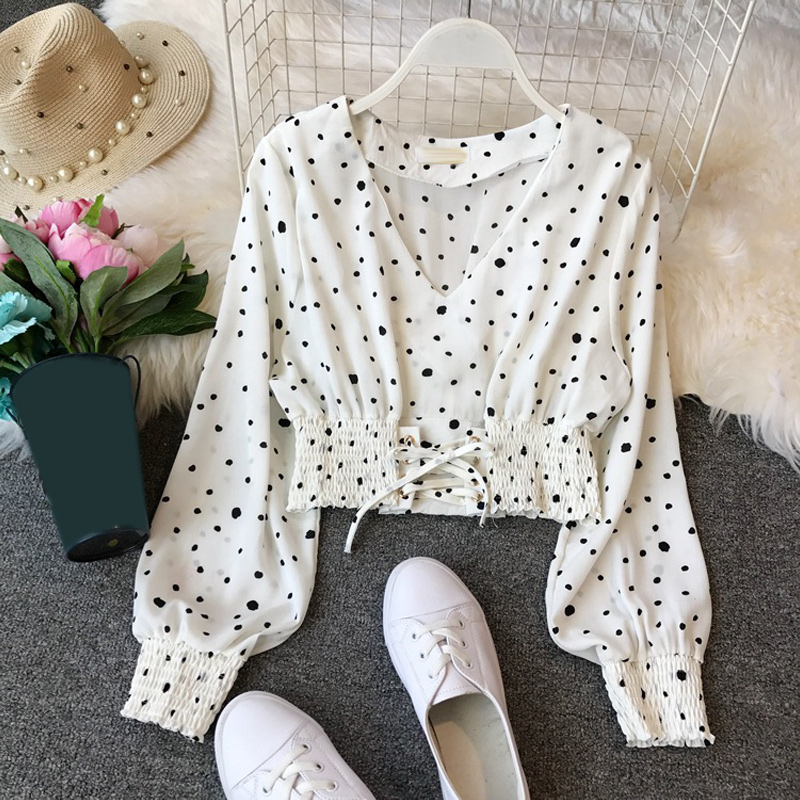 Spring Elegant Women V-neck Long Sleeve White Black <font><b>Blue</b></font> <font><b>Polka</b></font> <font><b>Dot</b></font> Chiffon Blouses And Tops Slim <font><b>Shirts</b></font> Female Summer image