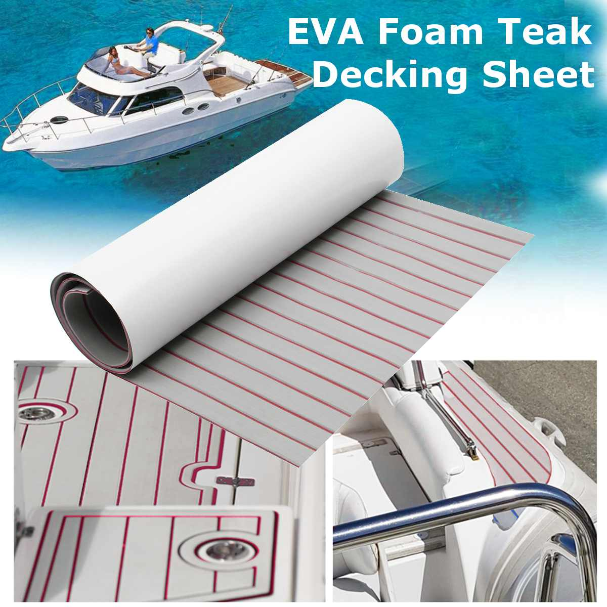120x240cm Self-Adhesive Foam Teak Decking EVA Foam Marine Flooring Faux Boat Decking Sheet Accessories Marine