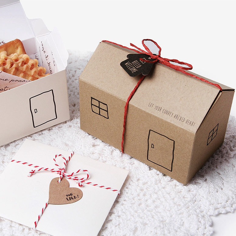 Petite boîte cadeau maison avec étiquettes, cordes, boîte-cadeau, boîtes Kraft, biscuits 30 pièces/lot