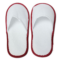 20 pairs of White Towelling Hotel Disposable Slippers Terry Spa Guest Shoes White + Red