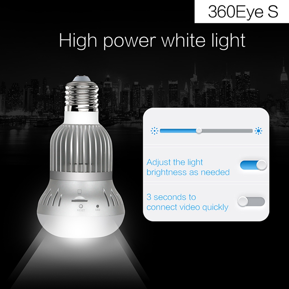 360°Motion Detection Wi-Fi Camera 3 LED Light Bulb Home Security Cam
