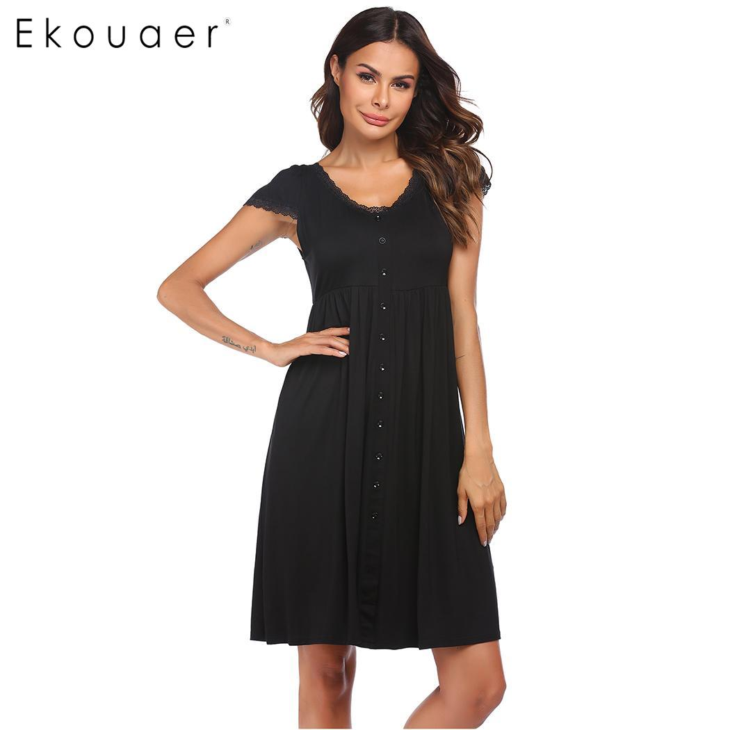 Ekouaer Women Summer Soft Nightgown Sleepwear Dress Casual Short Sleeve V Neck Single Breasted Nightdress Home Nighties