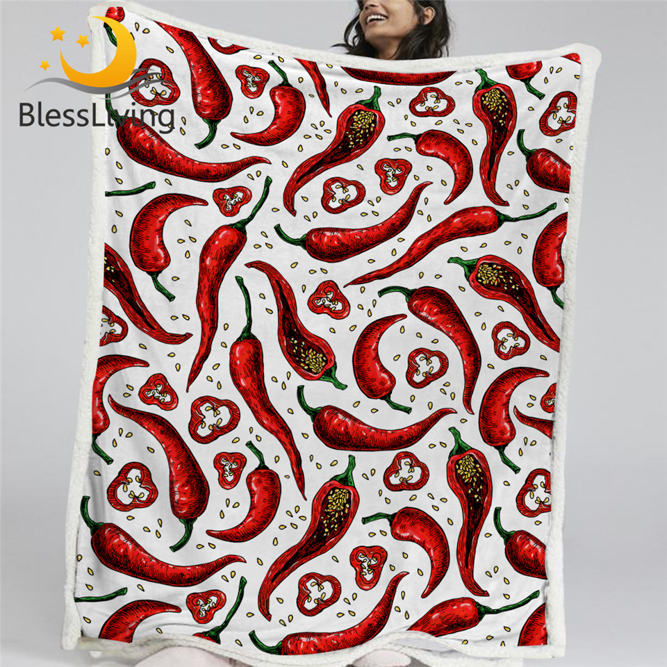 BlessLiving Chili Pepper Throw Blanket Vegetable Blanket For Bed Vegetarian Food Linen Blanket Spicy Mexican Pepper Soft Blanket image