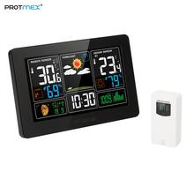 Цифровая цветная метеостанция, Protmex PT3388 Крытый Открытый метеостанция с оповещением и температурой/влажностью/барометром