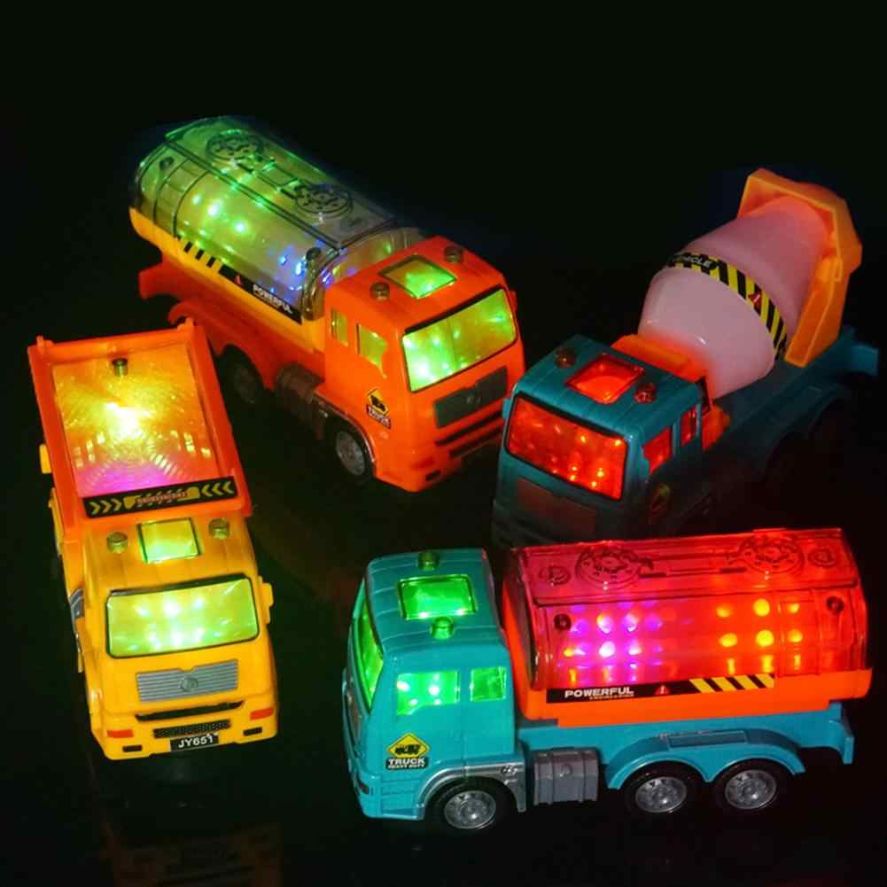 1:43 Diecast Engineering Toy Multi-directional Lighting Oil Tanker Loader Mixer Truck Model Kids Electric Car Toy