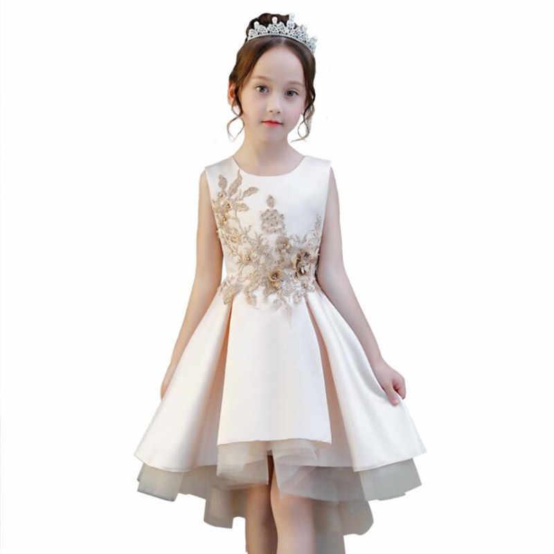 Vestido de princesa de cola de champán con Apliques de encaje para niñas vestido de fiesta de satén para niñas