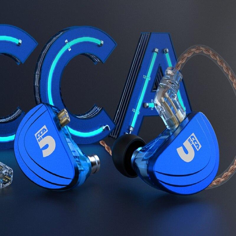 CCA A10 5BA unités d'entraînement dans l'oreille écouteurs 5 Armature équilibrée casque avec câble 2PIN détachable AS16 AS06 AS10 ZS10 PRO C10