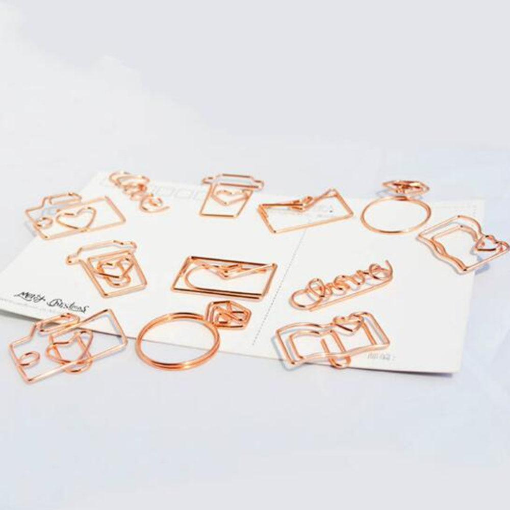 4Pcs  Rose Gold Paper Clips Bookmark Planner Tools Scrapbooking Tools Memo Clip Metal Binder Paperclip ndex bookmark for books
