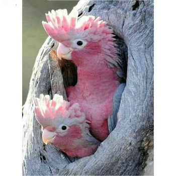 Rhinestone 5d diamond painting pink parrot full square diamond mosaic tree hole bird icon crafts embroidery home decoration M969 image