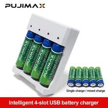 PUJIMAX Universale Uscita USB 4Slot Della Batteria Adattatore di Caricabatteria Per AA / AAA Batteria Ricaricabile Carica Rapida Ricarica Della Batteria Strumenti