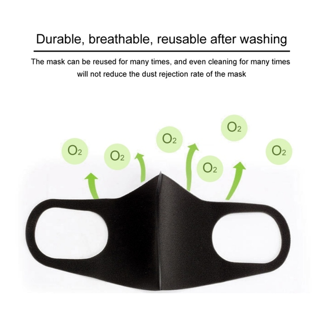 3PCS Washable Anti-Dust Mask Black Cycling Mouth Face Respirator Mask For Adults 4