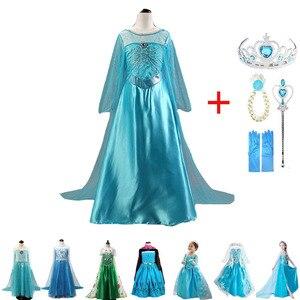 New Elsa Dress Girls Princess Anna Elsa Costume Halloween Elza Cosplay Costume Long Sleeve Dress for Kids Girls Vestidos(China)