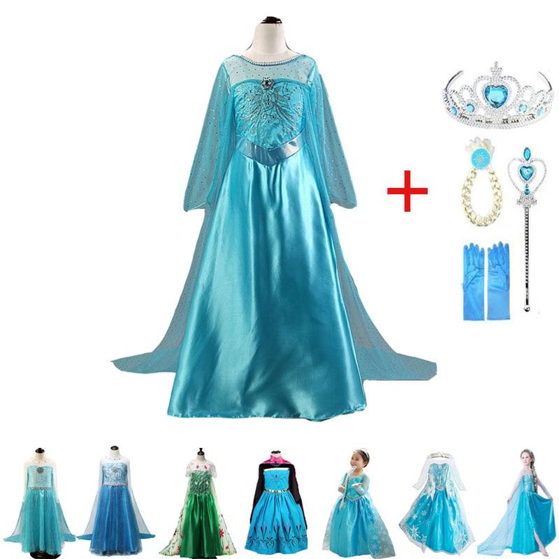 Novo vestido elsa meninas princesa anna elsa traje de halloween elza cosplay traje de manga longa vestido para crianças meninas vestidos