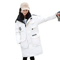 2019 Winer Long Down Jacket Women Female Hooded Down Parka With Stand Up Collar Cotton Warm Padded Autumn Outwear