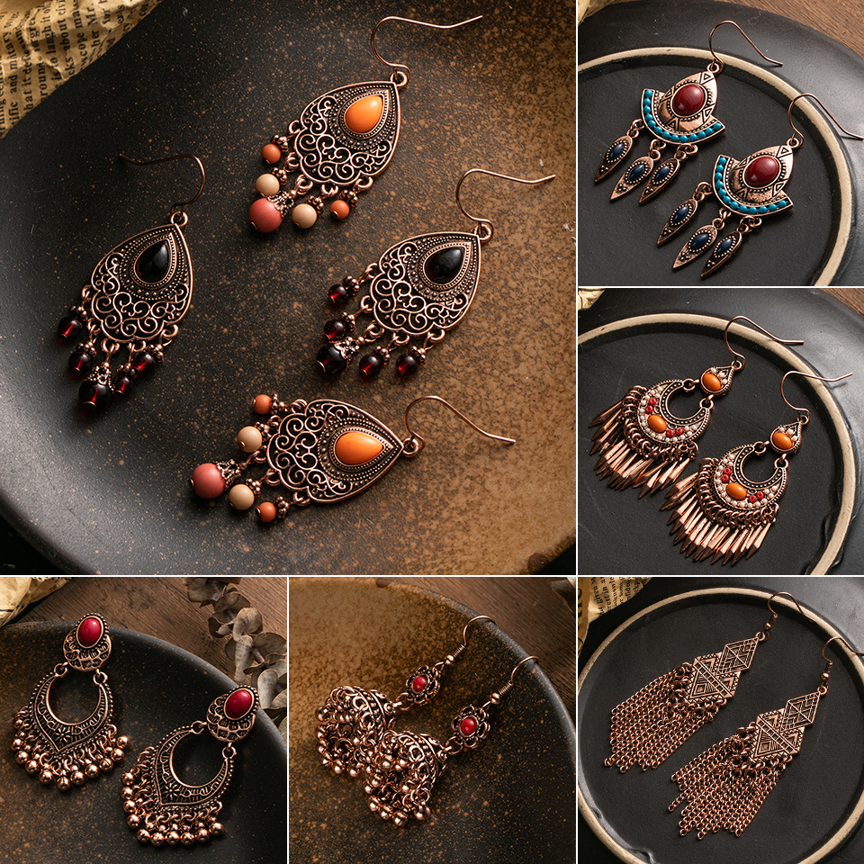 Vintage Boho Ethinic Rose Golden Hanging Dangle Drop Earrings for Women Female 2019 Indian Brincos Statement Jewelry Accessories
