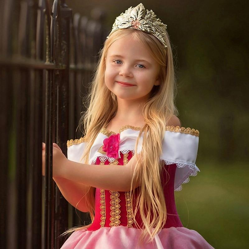 Hdf6e0afac04f41eda90ba651c08af64bL Fancy Girl Princess Dresses Sleeping Beauty Jasmine Rapunzel Belle Ariel Cosplay Costume Elsa Anna Sofia Children Party Clothes