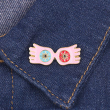 Harried Glasses Wing Brooces Potters Cosplay Owl pink Deathly Hallows Metal Badge Wings Pin For Jacket Clothes Clothing brooch(China)