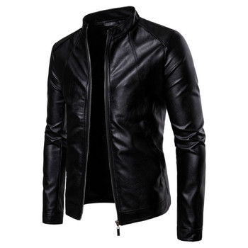 Men's Leather Jacket Boutique Stand Collar Type Men's  Leather  PU Leather Jacket Jacket B041 Men's Casual Zipper Leather Jacket цена 2017