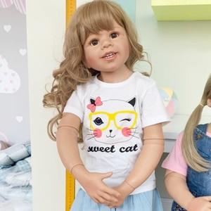 100CM Hard siliconen vinyl peuter meisje pop speelgoed als echte 3-jaar-oude size kind kleding foto model grote dress up pop baby cadeau