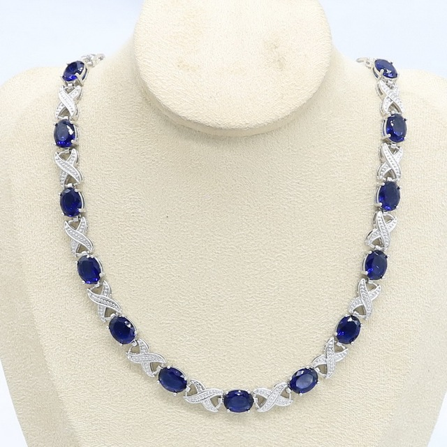 Blue Green Purple  Zircon Silver Color Necklace for Women Wedding  Jewelry Free Gift Box