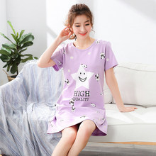 Summer Women Cotton Sleepwear Home Dress Nightshirt Causal Plus Size Nightdress