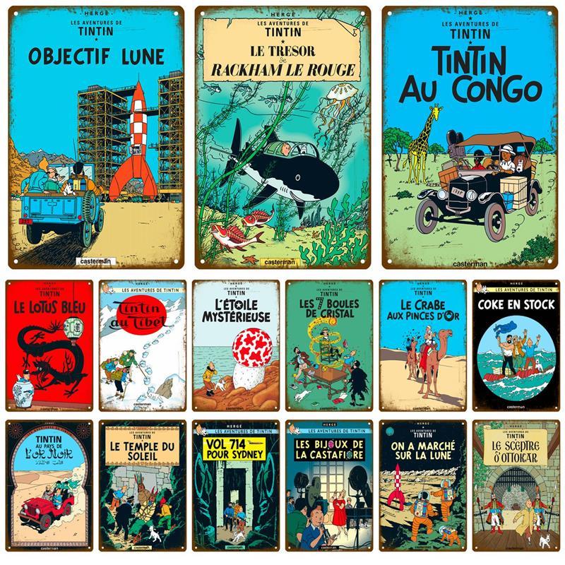 Металлический винтажный жестяной знак Tintin Explore, потертый Шикарный декор, металлический знак, винтажное украшение бара, металлическая пласт...