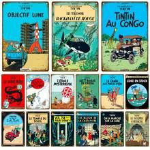 Tintin explorar gamer placa de metal do vintage estanho sinal chique decoração de metal sinal de metal vintage barra decoração de metal cartaz de metal placa de metal