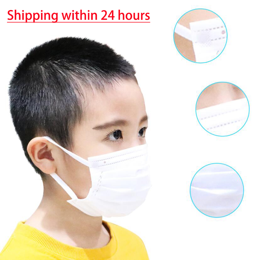 100Pcs Disposable Soft Mouth Mask Breathable White Soft Breathable 3-Ply Nonwoven Anti-Flu Hygiene Child Kids Face Mask