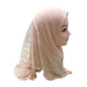 Image 4 - One Piece Amira Muslim Kids Girls Mesh Hat Headscarf Shawl Wrap Islamic Prayer Hijab Ramadan Cover Headwear Caps Middle East