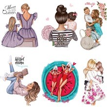 Patches For Clothes Thermal Sticker On Clothing Mom&Dad Baby Iron On Patches Print-on T-shirt Fashion Girl Clothes Heat Transfer