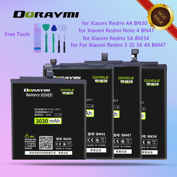 DORAYMI Replacement Batteries for Xiaomi Redmi 3 3S 3X 4X 4A 5A Note 4 Note4 Cell Phone Bateria BM47 BN30 BN34 BN41 Battery
