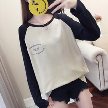 Casual Loose Women T-Shirt Round Collar Autumn New Color Matching Letter Print Loose Long Sleeve Simple Wild T Shirt casual letter print round neck long sleeve distressed t shirt for women