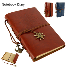 Spiral Notebook Diary Notepad Vintage Pirate Anchors PU Leather Note Book Replaceable Stationery Gift Traveler Journal vintage traveler journal notebook blank diary notepad retro pirate anchor pu leather note book stationery gift planner caderno