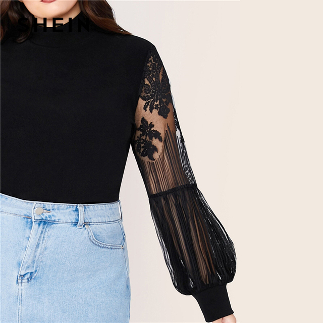 SHEIN Plus Size Black Mock Neck Lace Lantern Sleeve Fitted Top Women Autumn Solid Elegant Office Lady Womens Tops and Blouses 3