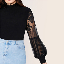 Plus Size Mock Neck Lace Lantern Sleeve Fitted Top Women Autumn Solid Elegant Office Tops and Blouses