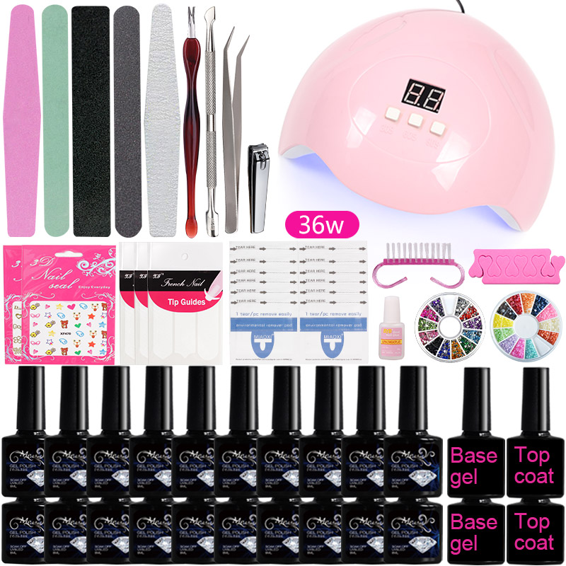 A3 Manicure Set Kit Professional Soak Off Nail Gel Polish Kit Colors Acrylic Nail Kit With UV LED Lamp Dryer Art Nail Tools