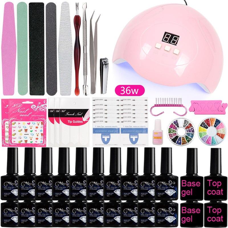 A3 Manicure Set Kit Professional Soak Off Nail Gel Polish Kit Colors Acrylic Nail Kit With UV LED Lamp Dryer Art Nail Tools
