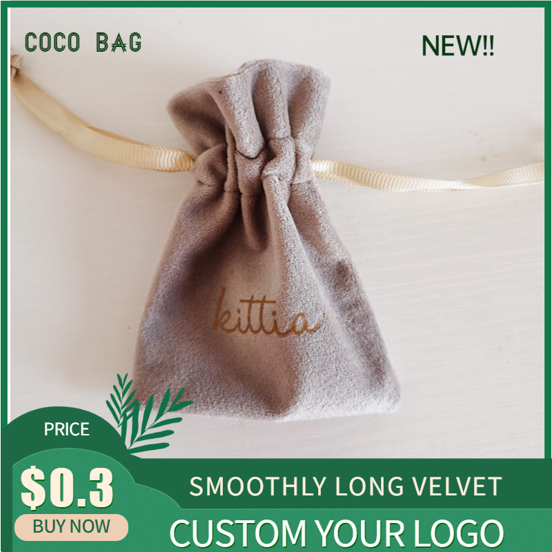7x10/ 9x12cm High Quality Silk Velvet Bag Soft Flannel Small Drawstring Packaging Pouches For Jewelry Bead Storage Custom Logo