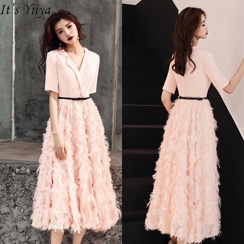 It's Yiiya Evening Dress V-neck Pink Evening Dresses Elegant Feather Formal Gowns Plus Size Short Sleeve Robe De Soiree LF185