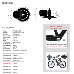 Image 5 - Bafang BBS02B Mid Drive Motor 36V 500W Electric Bicycle Conversion Kits  68 73mm E bike 8FUN Powerful Engine 44T 46T 48T 52T