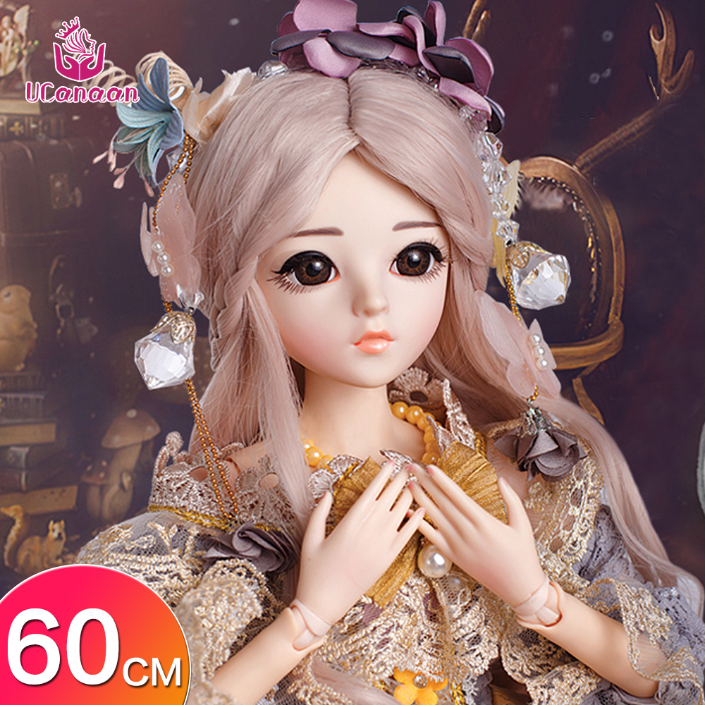 UCanaan 23.6'' BJD SD Dolls With Clothes Outfit Shoes Wig Hair Makeup And 18 Ball Joints For Girls Gift And Dolls Collection