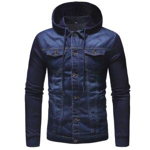 Image 4 - Nowy 2020 mężczyźni Jeans kurtki człowiek z kapturem na jesień płaszcz dżinsowy dla mężczyzn wysokiej jakości mody klasyczne Patchwork męskie ubrania Streetwear